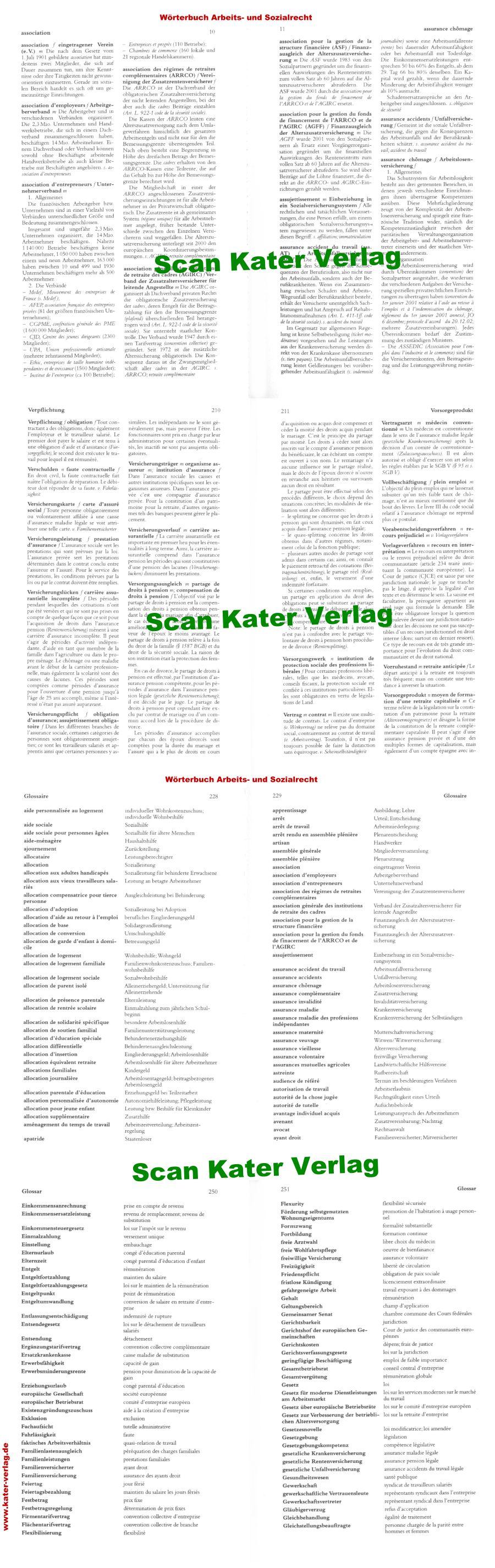 Wörterbuch Arbeits- und Sozialrecht FR-DE, DE-FR