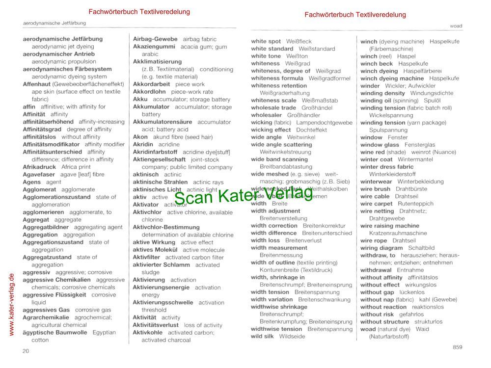 Fachwörterbuch Textilveredlung DE-EN, EN-DE