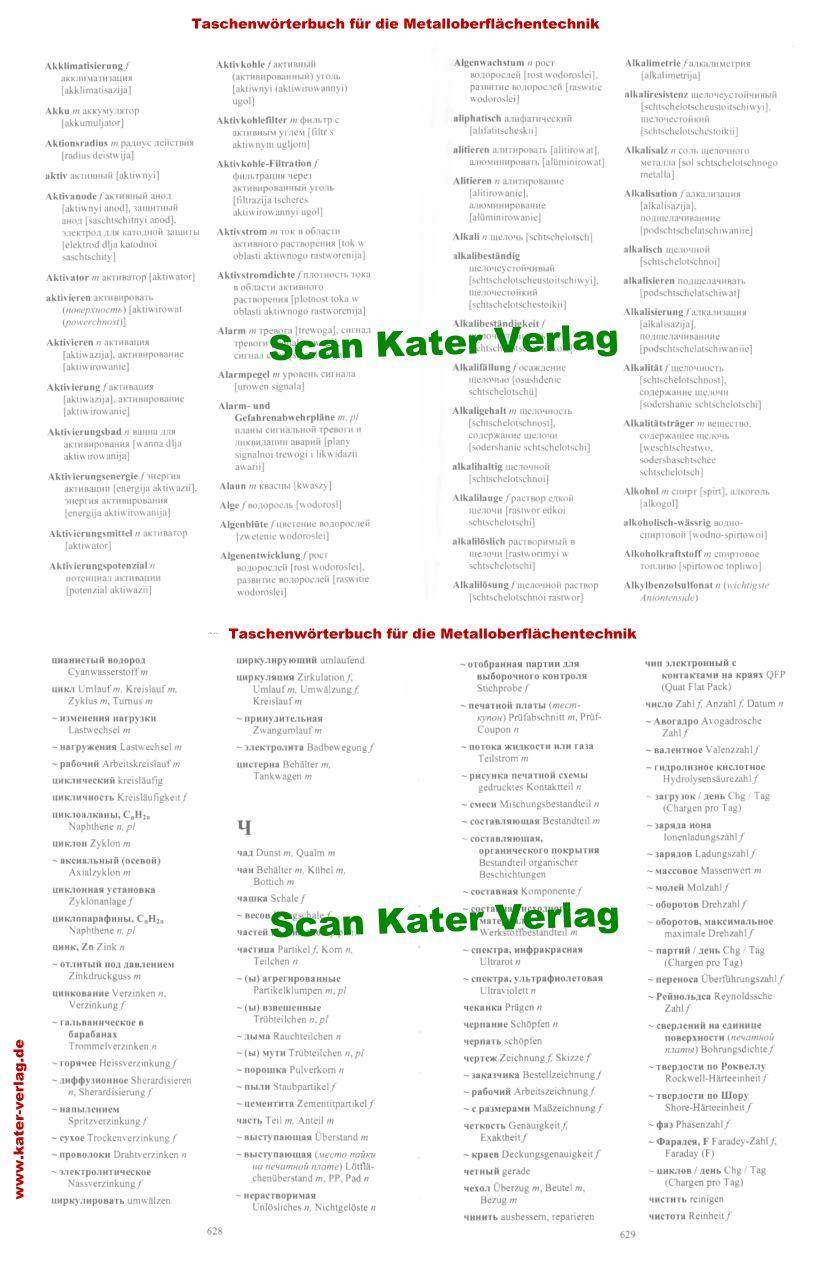 Taschenwörterbuch für die Metalloberflächenbehandlung DE-RU, RU-DE