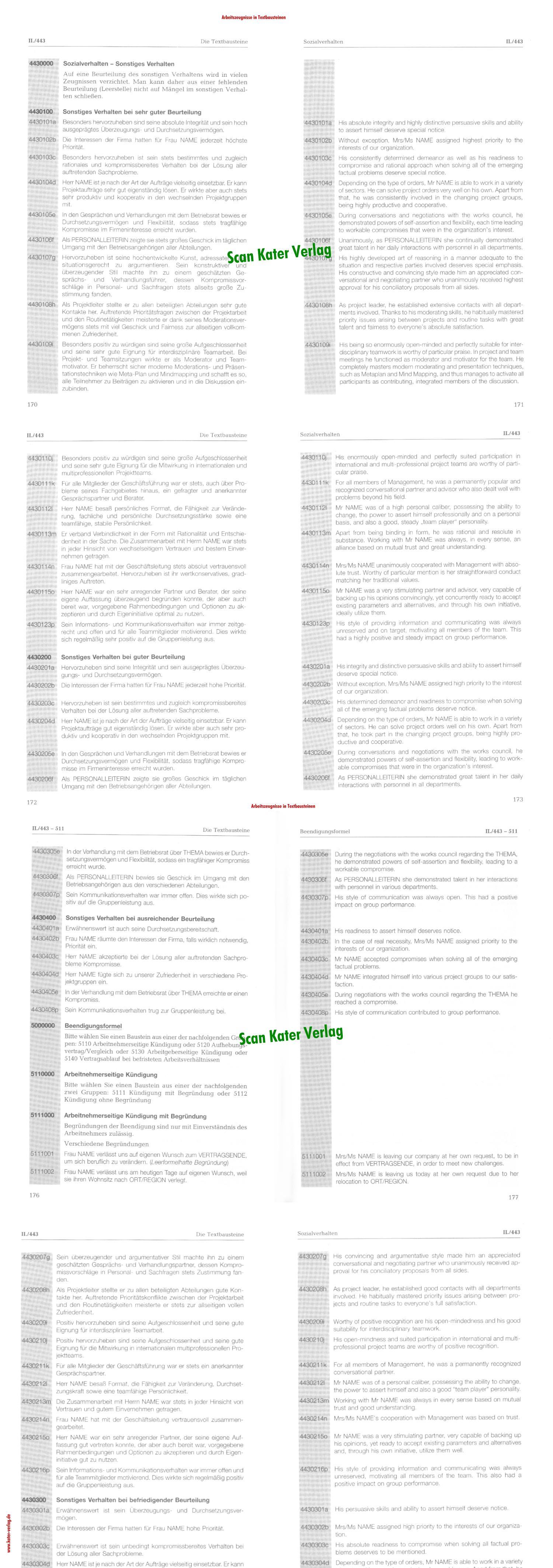 Arbeitszeugnisse in Textbausteinen DE-EN