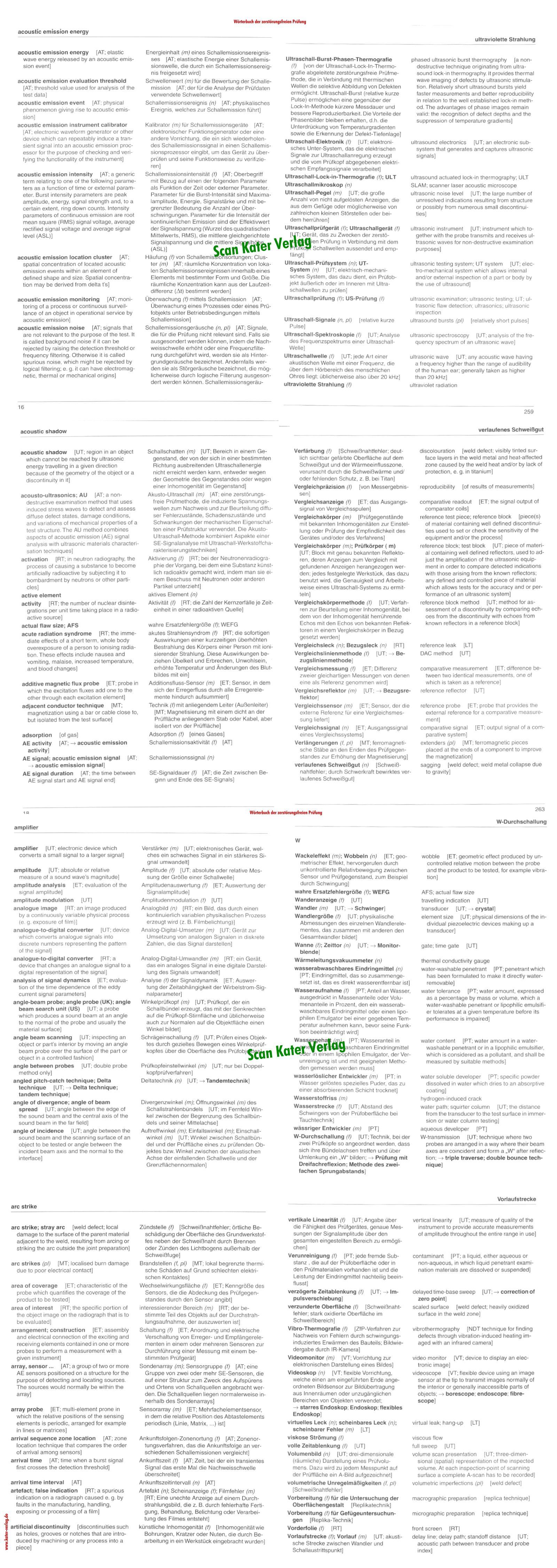 Wörterbuch der Zerstörungsfreien Prüfung EN-DE, DE-EN
