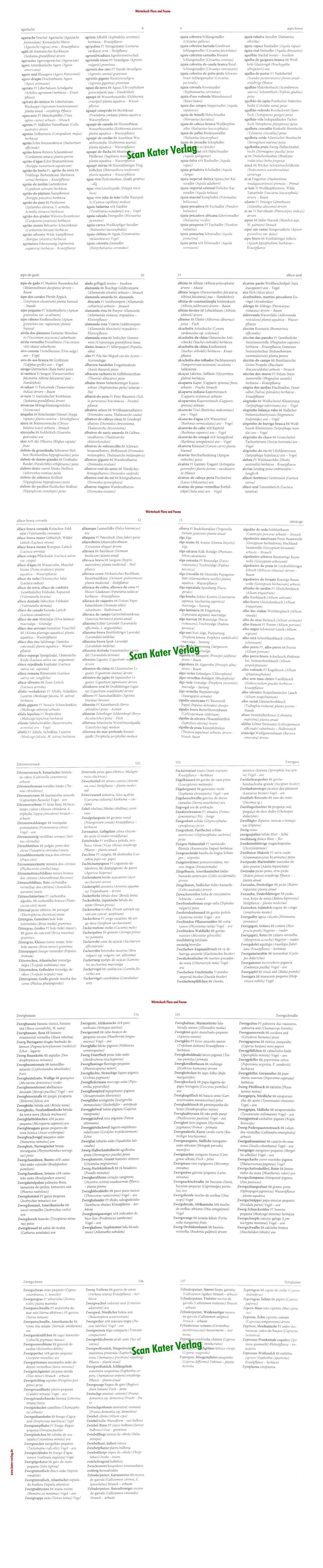 Wörterbuch Flora und Fauna Portugiesisch PT-DE-PT