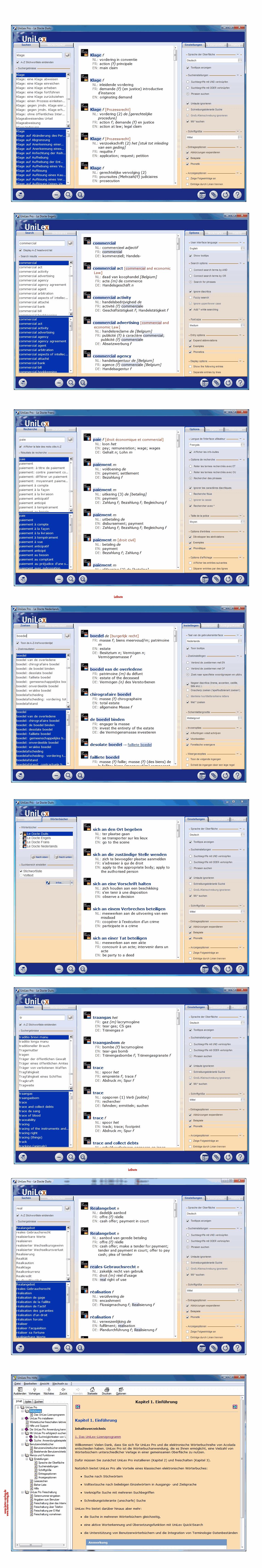 Le Docte: Juristisches Wörterbuch NL, FR, DE, EN DOWNLOAD
