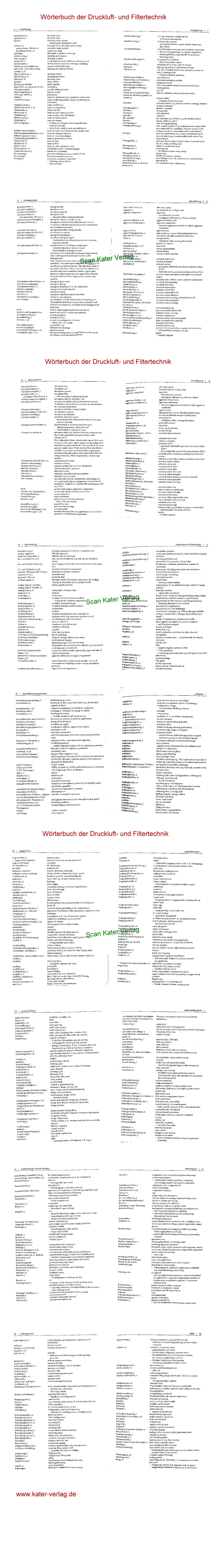Wörterbuch der Druckluft- und Filtertechnik Deutsch-Englisch, Englisch-Deutsch DE-EN-DE