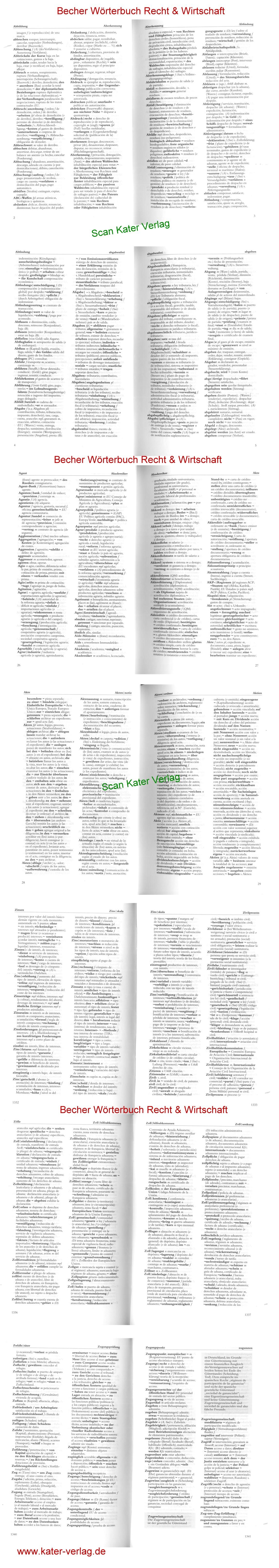 Becher: Wörterbuch Recht und Wirtschaft -Band II - DE-ES