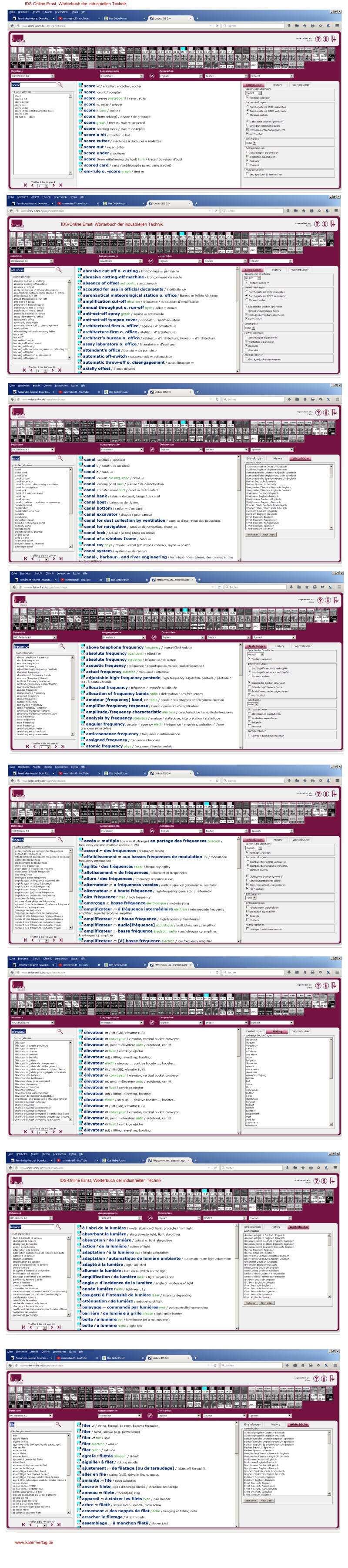 Ernst: Wörterbuch der industriellen Technik IX,X Französisch / Englisch FR-EN, EN-FR ONLINE