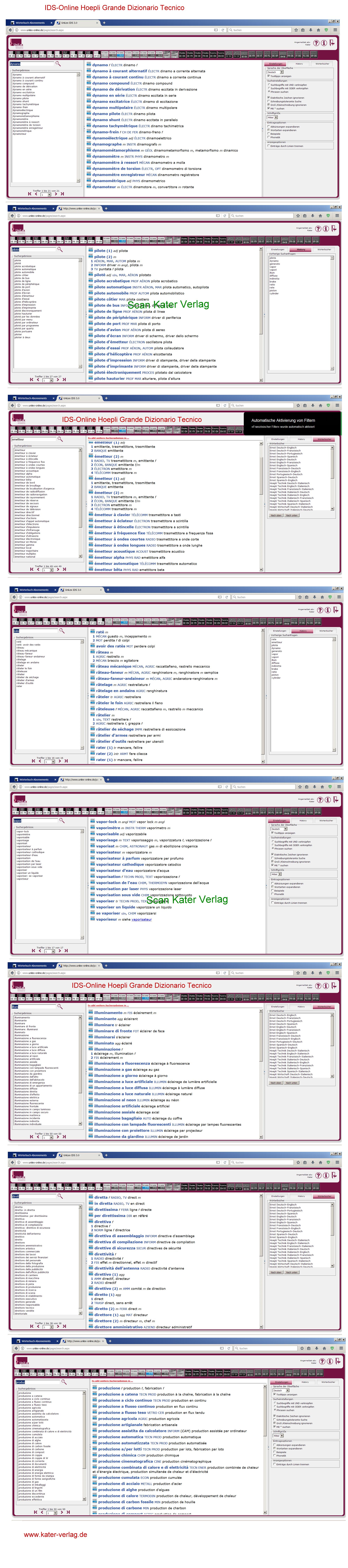 Hoepli: Großes Wörterbuch Technik IT-FR, FR-IT ONLINE
