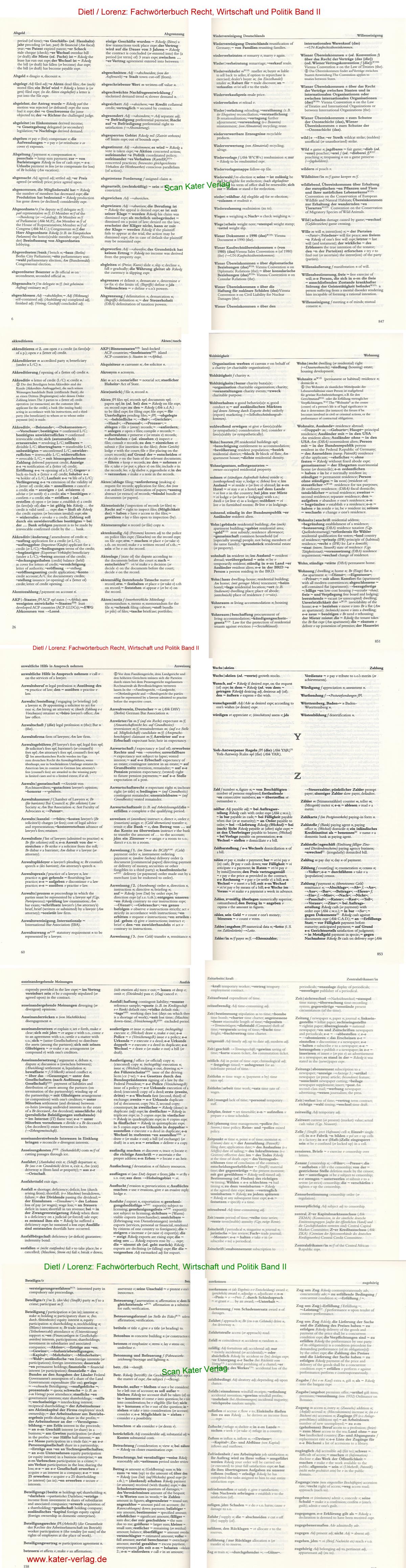 Dietl / Lorenz: Fachwörterbuch Recht, Wirtschaft und Politik Band II Deutsch-Englisch DE-EN
