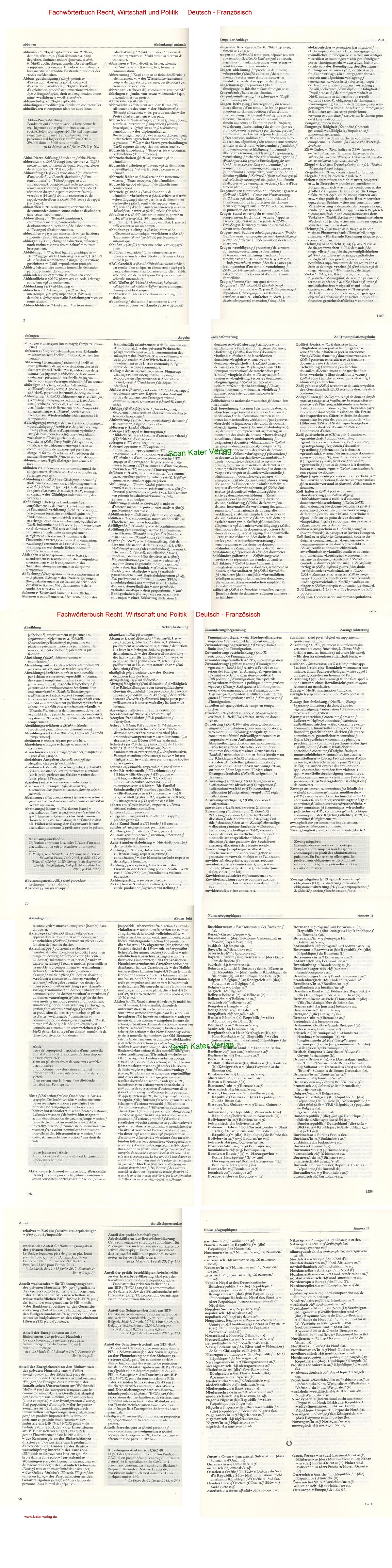 Fleck /Güttler / Kettler Wörterbuch Recht, Wirtschaft und Politik II DE-FR